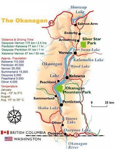 Map of Okanagan Valley