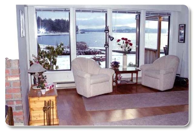 View of beach and ocean from living room